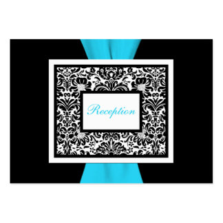 Black and White Damask with Blue Enclosure Card Business Cards