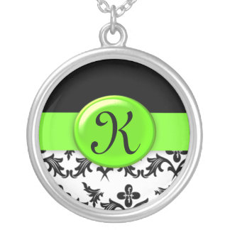 Black and White Damask with Lime Green Monogrammed Silver Plated Necklace