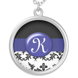 Black and White Damask with Navy Blue Monogrammed Necklace