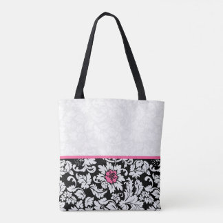 Black And White Damask With Pink Flower Tote Bag