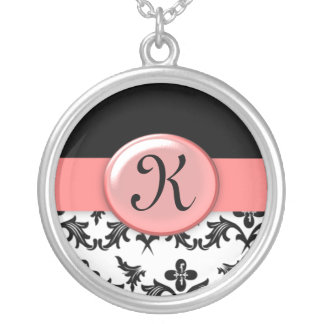 Black and White Damask with Pink Monogrammed Custom Jewelry