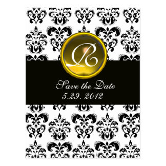 BLACK AND WHITE DAMASK YELLOW TOPAZ  MONOGRAM POST CARD