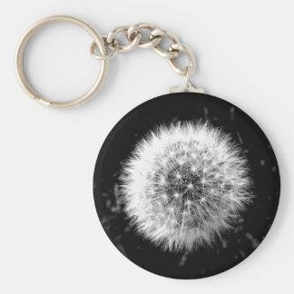 Black and white dandelion key chain