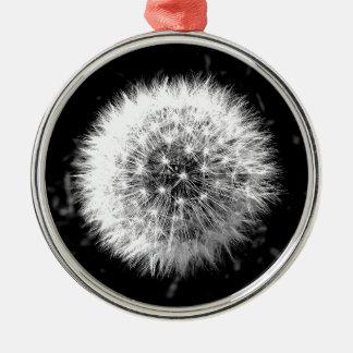 Black and white dandelion ornament