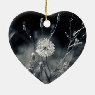 Black and White Dandelion Photography Christmas Ornament