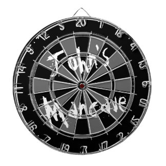 Black and white dartboard with funny quote for men
