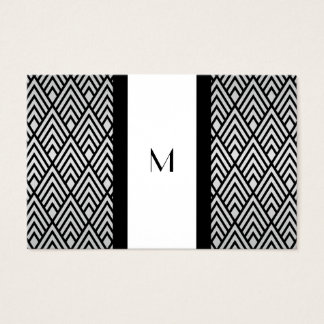 Black and White Deco Monogram Reg Size Business Card