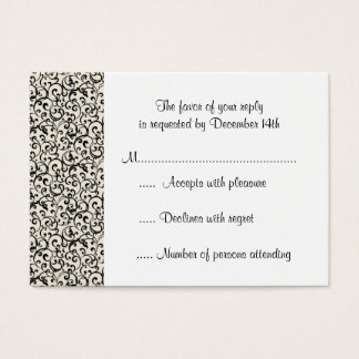 Black and White Deco Swirl RSVP Response Business Card