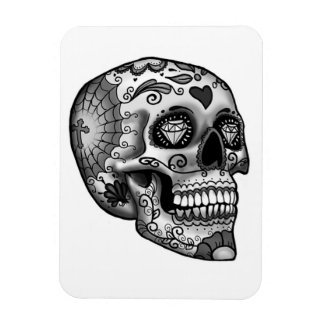 Black And White Decorated Skull Magnet