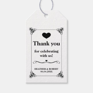 Black And White Decorative Frame Wedding Thank You Gift Tags