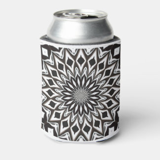 Black And White Decorative Mandala Can Cooler