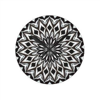 Black And White Decorative Mandala Round Clock