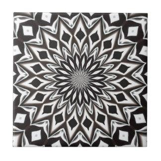 Black And White Decorative Mandala Tile