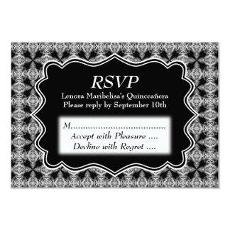 Black and White Decorative Pattern Quinceanera 9 Cm X 13 Cm Invitation Card