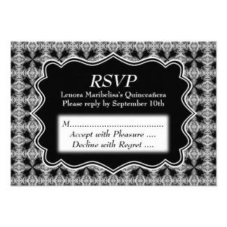 Black and White Decorative Pattern Quinceanera Invite