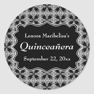 Black and White Decorative Pattern Quinceanera Round Stickers