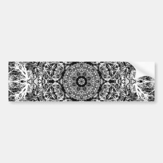 Black and White Decorative Round Pattern. Car Bumper Sticker