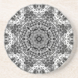 Black and White Decorative Round Pattern. Drink Coaster