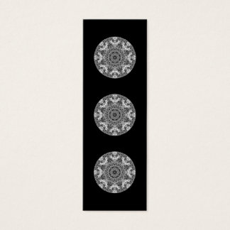 Black and White Decorative Round Pattern. Mini Business Card