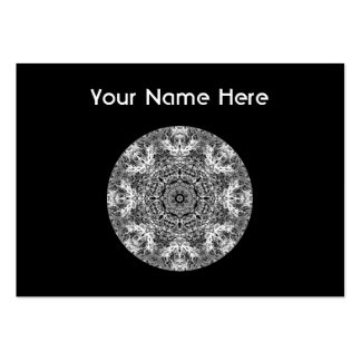 Black and White Decorative Round Pattern. Pack Of Chubby Business Cards