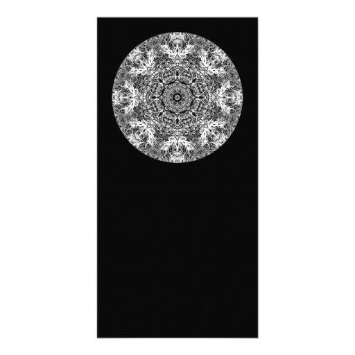 Black and White Decorative Round Pattern. Custom Photo Card