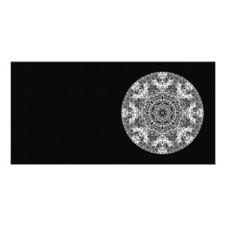 Black and White Decorative Round Pattern Photo Card Template