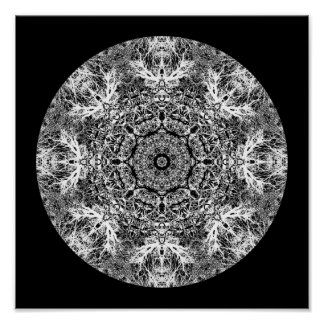 Black and White Decorative Round Pattern. Poster