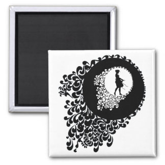 Black And White Decorative Silhouette Girl Square Magnet
