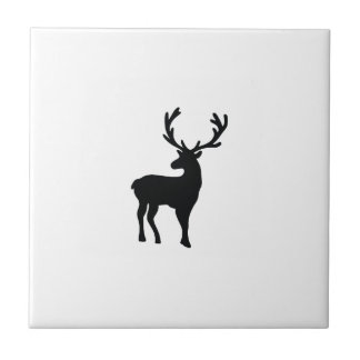 Black and white deer ceramic tile