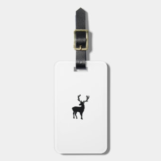 Black and white deer luggage tag