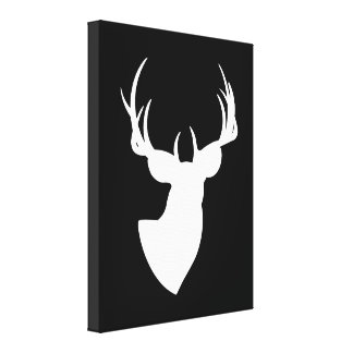 Black and White Deer Silhouette Stretched Canvas Print