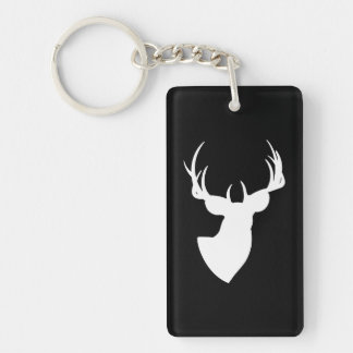 Black and White Deer Silhouette Single-Sided Rectangular Acrylic Key Ring