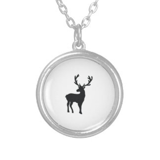 Black and white deer silver plated necklace