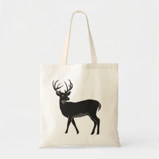 Black and White Deer Tote Budget Tote Bag