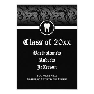 Black and White Dental School Graduation 5x7 Card