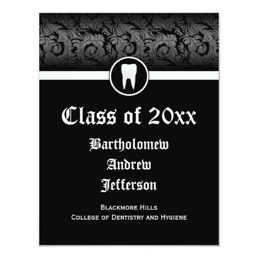 Black and White Dental School Graduation Dentistry 11 Cm X 14 Cm Invitation Card