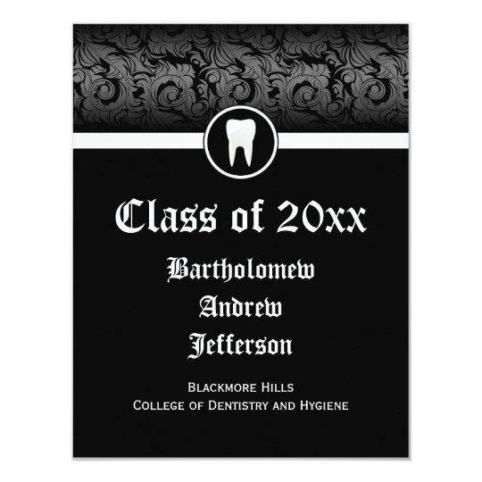 Black and White Dental School Graduation Dentistry Card