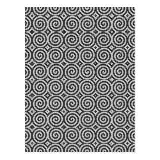 Black and white design. Pattern of Spirals. Postcard