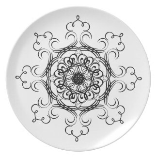 Black and White Designer Decorative Curves Plate