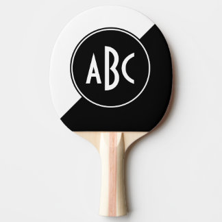 Black and White Diagonal Color Block Monogram Ping Pong Paddle
