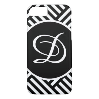 Black and White Diagonal Random Stripes iPhone 7 Case
