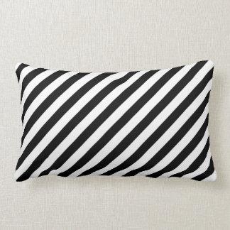 Black and White Diagonal Stripes. Throw Pillows