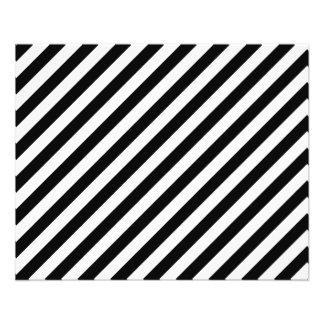 Black and White Diagonal Stripes. 11.5 Cm X 14 Cm Flyer