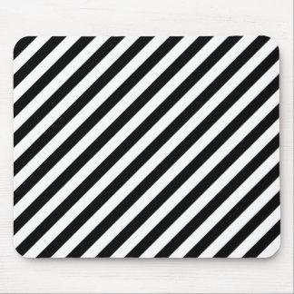 Black and White Diagonal Stripes. Mouse Pad