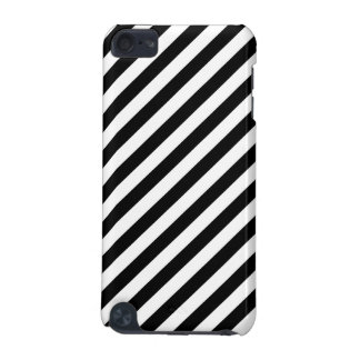 Black And White Diagonal Stripes Pattern iPod Touch 5G Covers
