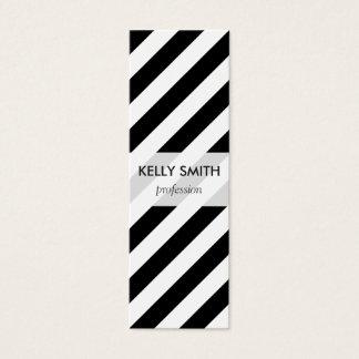 Black And White Diagonal Stripes Pattern Mini Business Card