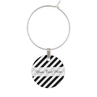 Black And White Diagonal Stripes Pattern Wine Charm