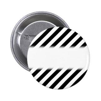Black and White Diagonal Stripes Pinback Button