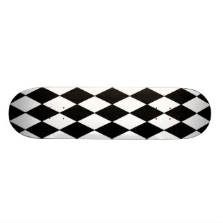 Black and White Diamond Harlequin Pattern Skateboard Decks