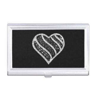 Black And White Diamond Heart Business Card Holder